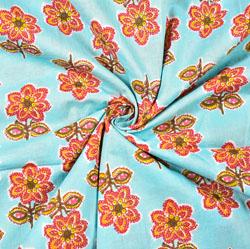 Cyan Pink Floral Block Print Cotton Fabric-28509