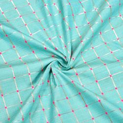 Cyan Pink and Golden Checks Zari Taffeta Silk Fabric-12316