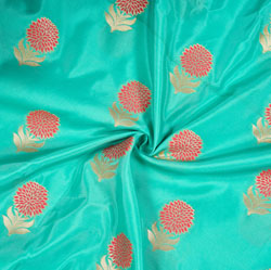 Cyan Pink and Golden Floral Brocade Silk Fabric-12672