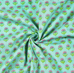 Cyan Pink and Green Floral Block Print Cotton Fabric-28493