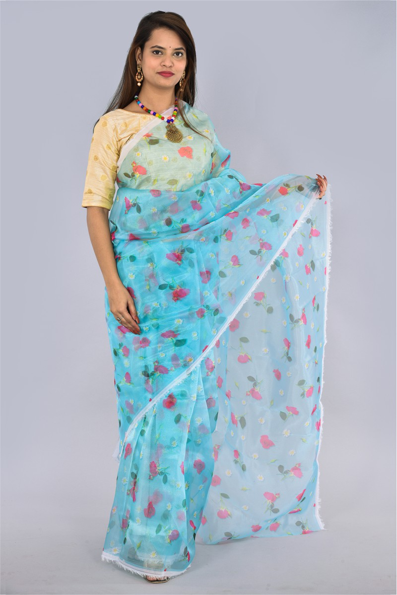 Cyan Pink and Green Organza Digital Printed Saree-36195