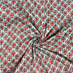 Cyan Red Floral Block Print Cotton Fabric-28453