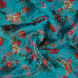 Cyan Red and White Floral Organza Silk Fabric-22114