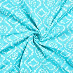 Cyan White Bandhej Block Print Cotton Fabric-28545