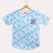 Cyan White Cotton T-shirt-33359