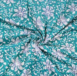 Cyan White Floral Block Print Cotton Fabric-28424