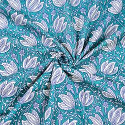 Cyan White Floral Block Print Cotton Fabric-28427