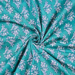 Cyan White Floral Block Print Cotton Fabric-28439