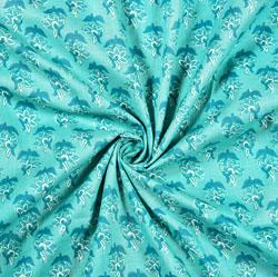 Cyan White Floral Block Print Cotton Fabric-28475