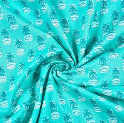 Cyan White Floral Block Print Cotton Fabric-28508