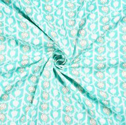 Cyan White Floral Block Print Cotton Fabric-28543