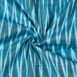 Cyan White Ikat Cotton Fabric-11084