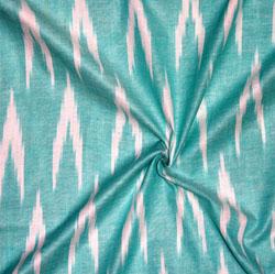 Cyan White Ikat Cotton Fabric-11133