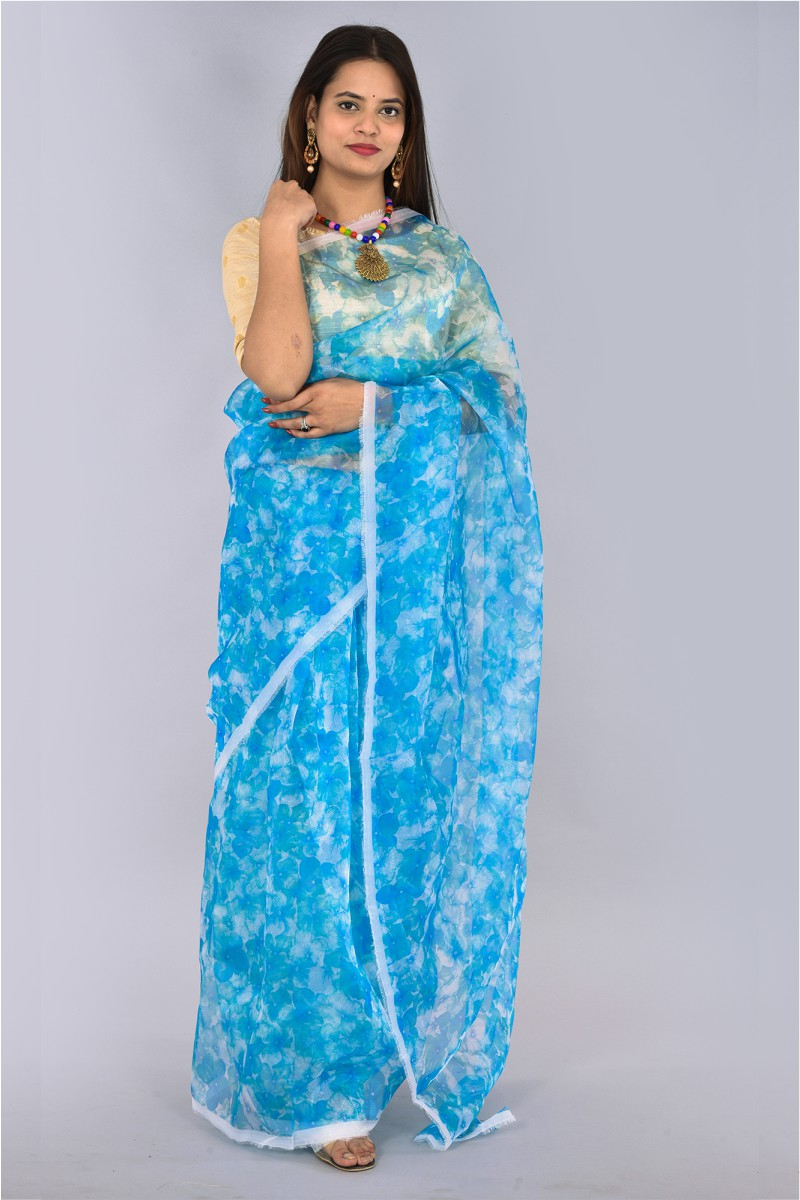 Cyan White Organza Digital Printed Saree-36199