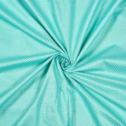 Cyan White Polka Cotton Fabric-28576