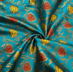 Cyan Yellow and Golden Floral Brocade Silk Fabric-12193