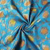 Cyan Yellow and Orange Floral Brocade Silk Fabric-9494