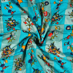 Cyan Yellow and Red Floral Cotton Fabric-28571