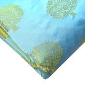 Cyan and Golden Tree Pattern Brocade Silk Fabric-8211