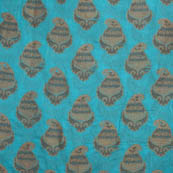 Cyan and Golden chanderi silk fabric-5058
