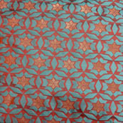 Cyan and Golden circular star shape brocade silk fabric-5012