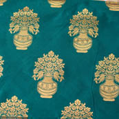 Cyan and Golden flower pot brocade silk fabric-4647