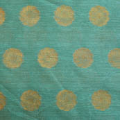Cyan and Golden flower shape brocade silk fabric-5053