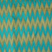 Cyan and Golden ikat printed chanderi fabric-4601