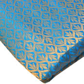 Cyan and Golden Leaf Pattern Brocade Silk Fabric-8202