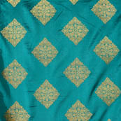 Cyan and Golden square shape flower printed brocade silk fabric-4632