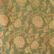 Cyan and golden flower shape brocade silk fabric-4644