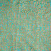 Cyan and golden paisley brocade silk fabric-5026