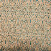 Cyan and golden royal paisley brocade silk fabric-4978