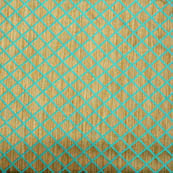Cyan and golden square shape brocade silk fabric-5004