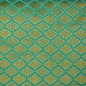 Cyan and golden unique shape brocade silk fabric-5008