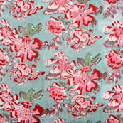 Cyan and pink flower block print fabric-5194