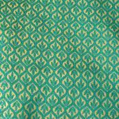 Cyan and silver leaf pattern brocade silk fabric-4618