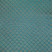 Cyan and small golden tree shape brocade fabric-4698