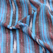 Cyan-black and brown lining ikat fabric-5078
