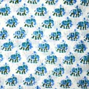 Cyan elephant design hand block Print Cotton Fabric