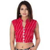 Dark Pink and White Cut Sleeve Cotton Ikat Blouse-30198