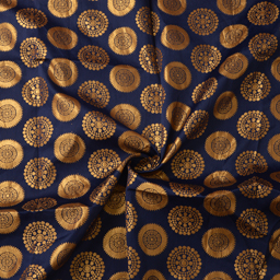Dark Blue and Golden Circular Design Silk Brocade Fabric-8378