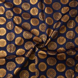 Dark Blue and Golden Circular Design Silk Brocade Fabric-8378