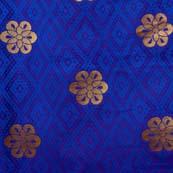 Dark Blue and Golden Flower Brocade Silk Fabric by the yard