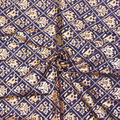 Dark Blue and Golden Flower Design Brocade Silk Fabric-8326