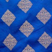 Dark Blue and Golden Triangle Flower Brocade Silk Fabric by the yard