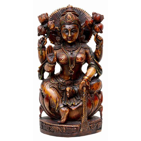 Dark Brown Hand Painted Saraswati Statue