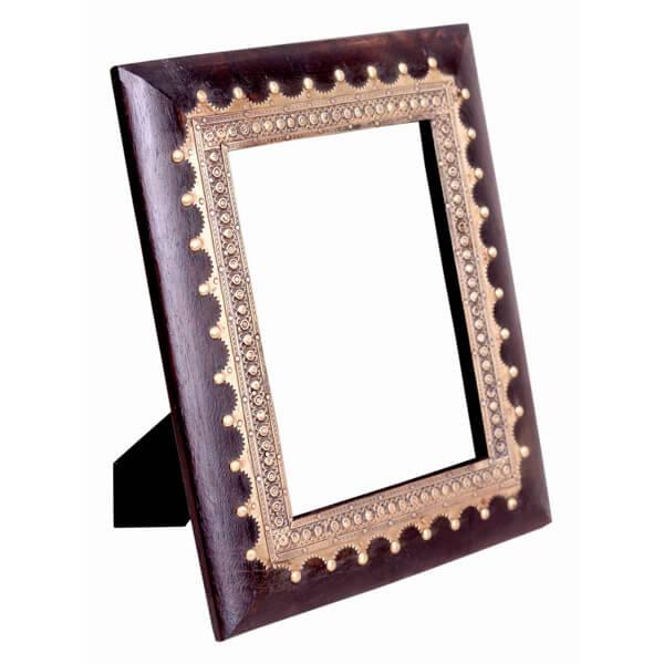 Dark Brown White Wood Photo Frame