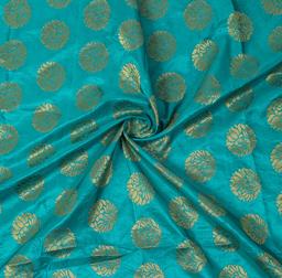 Dark Cyan and Golden Floral Design Brocade Silk Fabric-8363