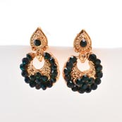 Dark Green Stone Circular Design with Golden Polish Earring for Women